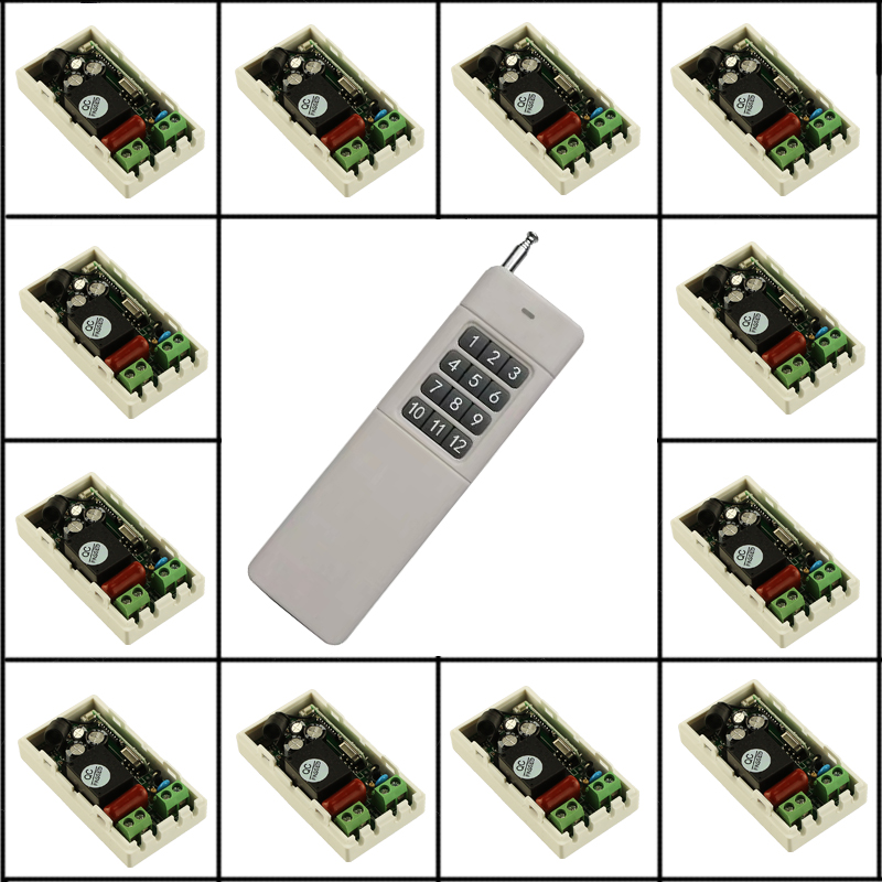 AC 220V 12CH 10A Relay Remote Switch Light Lamp LED Motor Machine RF Receiver 200~1000M Transmitter Wireless Switch 315 433Mhz