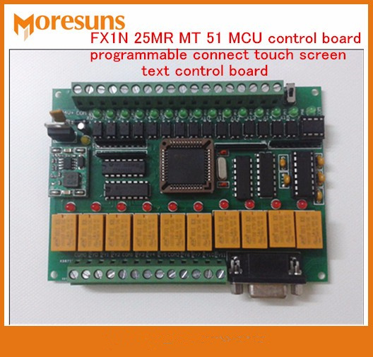 Fast Free Ship PLC Industrial Control Board FX1N 25MR MT51 MCU Programmable Connect Touch Screen Text Control Board Module