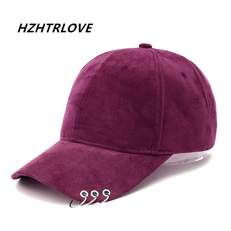 High Quality Suede Unisex Solid Ring Safety Pin Curved Hats Baseball Cap Men Women Snapback Caps Hip Hop Hat Casquette Gorras aetrue brand men snapback caps women baseball cap bone hats for men casquette hip hop gorras casual adjustable baseball caps