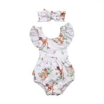 Moda 2018 noworodka maluch niemowlę dziewczynek Deer Ruffles Romper kombinezon ubrania stroje tanie i dobre opinie Dziecko Pajacyki Dziecko dziewczyny Przycisk zadaszone cotton Bez rękawów Pasuje prawda na wymiar weź swój normalny rozmiar