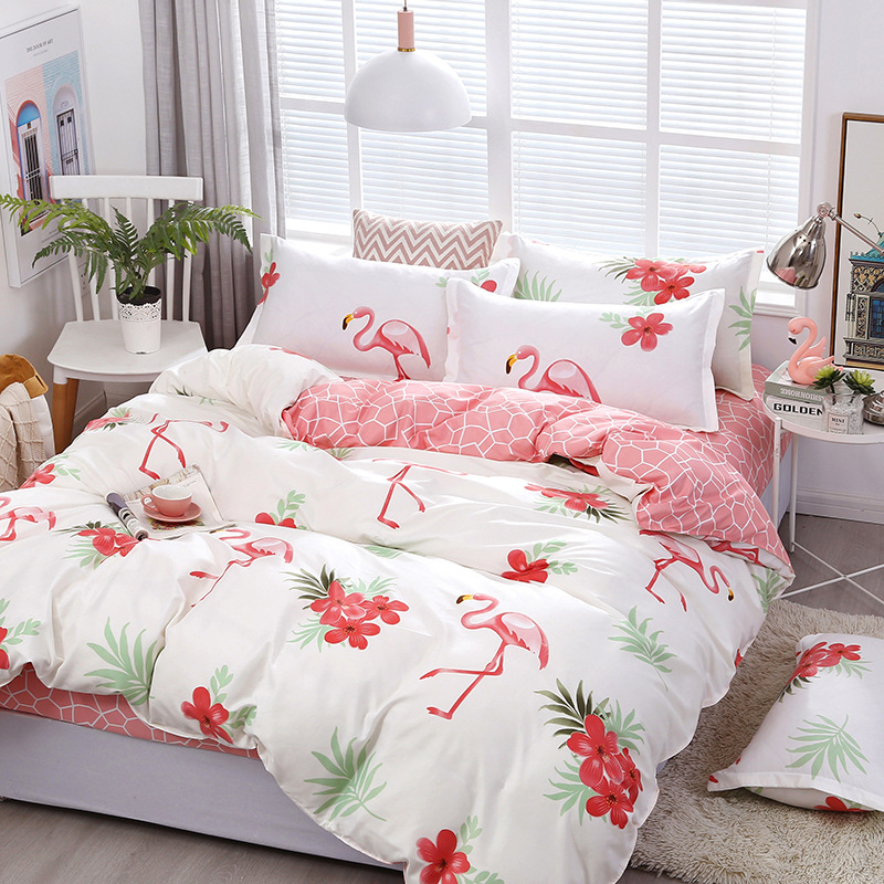 Fashion Flamingos Bedding Sets bed Linen Simple Style Duvet Cover Flat Sheet Set Winter Full King Single Queen 2019
