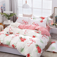 Fashion Flamingos Bedding Sets bed Linen Simple Style Duvet Cover Flat Sheet Bedding Set Winter Full King Single Queen Set 2019 цена 2017