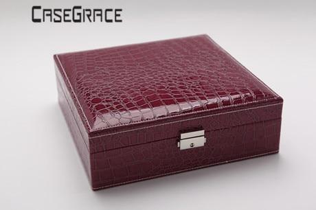 Rectángulo Pu Cuero Caja de almacenamiento de joyería de lujo - Organización y almacenamiento en la casa - foto 3