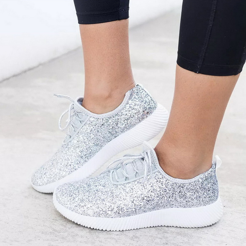 WENYUJH Fashion Women Vulcanized Shoes Glitter Sneakers Summer Bling Sneakers Lace-up Sparkly Shoes For Women Casual Shoes Tenis