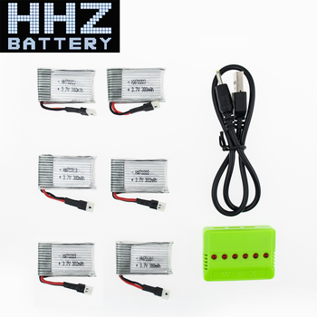 6pcs 3.7V 380mAh LiPo Battery 6 in 1 charger plug For Eachine E20 H107C H107L H107 U816 V252 Hubsan H107C JXD 385 Wltoys V252