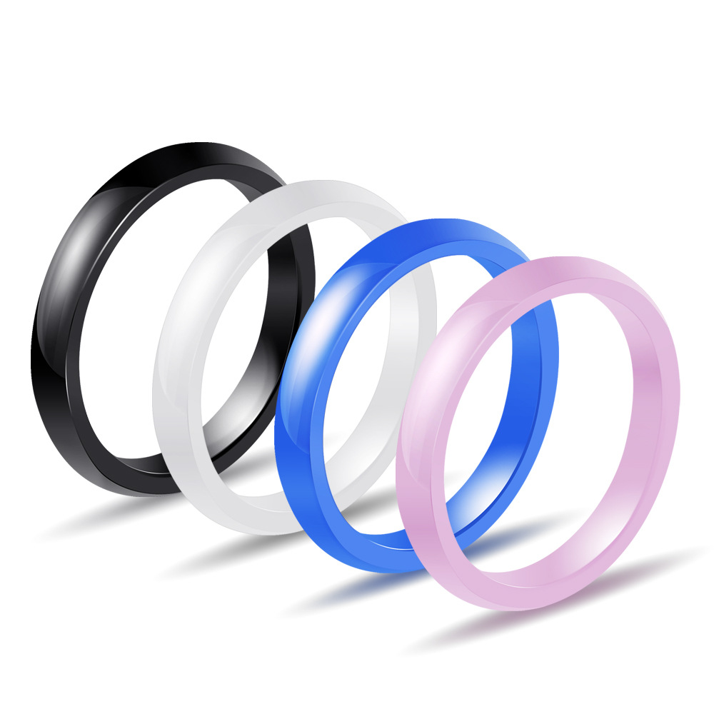 OLOEY Simple Women Men Ceramic Ring Fashion 3MM Knuckle Knuckle Rings Four Color Lovers Finger Jewelry in Rings from Jewelry Accessories
