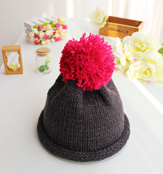 BomHCS Cute Contrast Color 100% Handmade Knitted Beanie Women Winter Autumn Slouchy Warm Skully Hat Cap bomhcs comfort softness cute women autumn winter warm 100