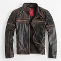 Denny Dora Vintage Men's Leather Jacket Short Paragraph Slim Stand Collar Coat Motorcycle Clothing Cowhide Heavy Metal VR