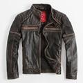 Denny Dora Vintage Men's Leather Jacket Short Paragraph Slim Stand Collar Coat Motorcycle Clothing Cowhide Heavy Metal VR