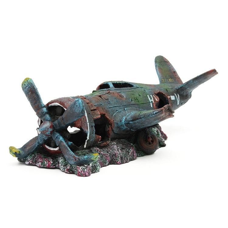 House Decoration Craft Kissing Fish Home Furnishings: Aquarium Decoration Resin Plane Wreck Airplane Artificial