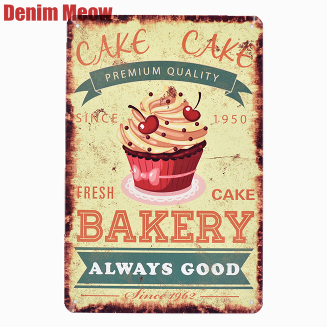 BAKERY Fresh Cake Plaque Metal Signs Bar Pub Cafe Home Decor Shop Billboard Art Stickers Wall Painting Decorative Plates N163