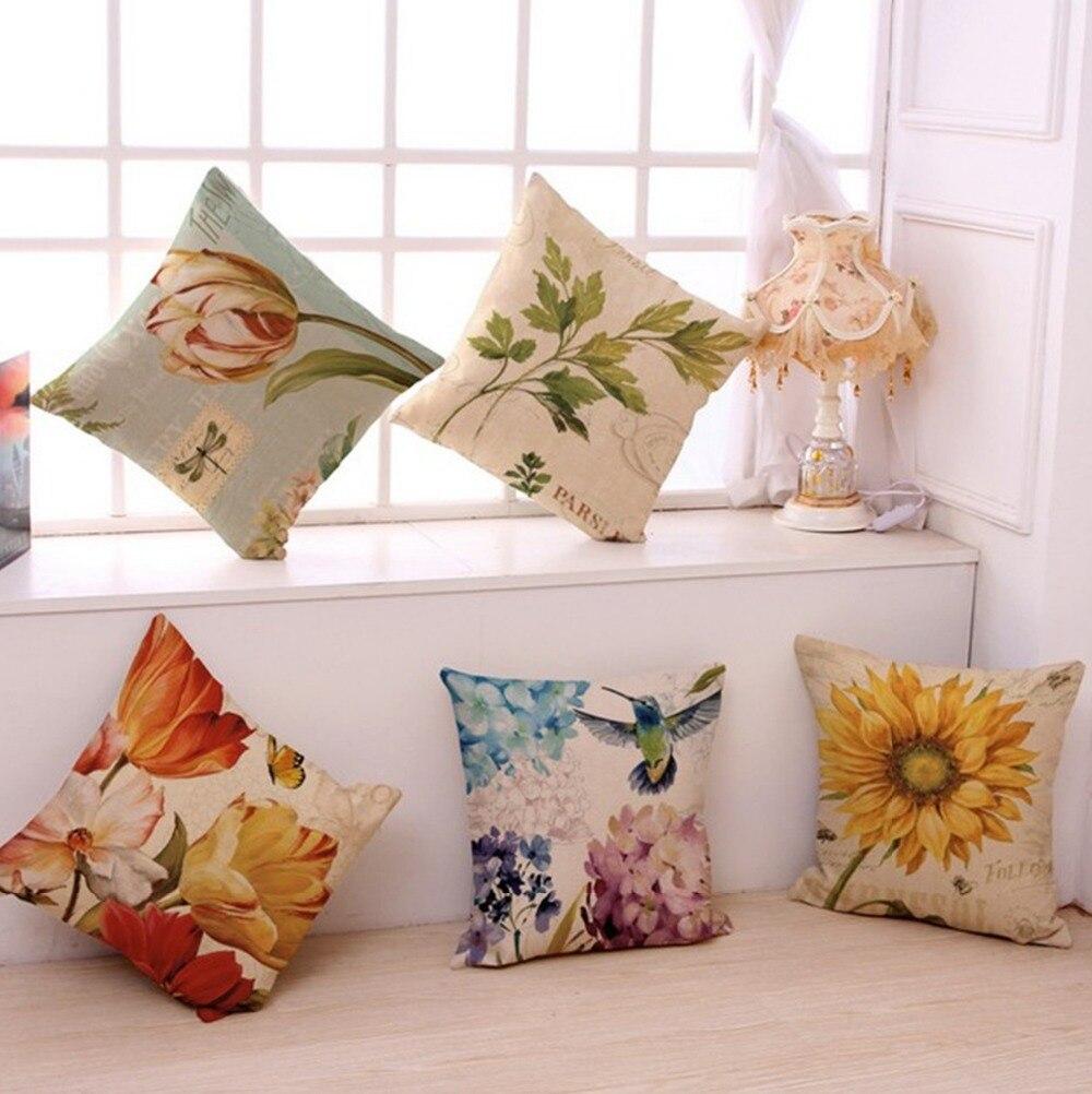 Vintage Flowers Pillow Cover Hydrangea Tulip Linen Cotton