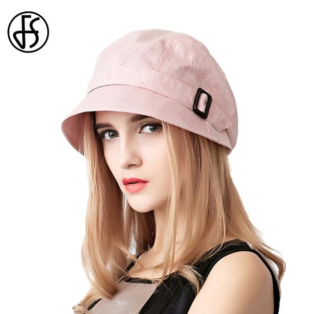 a6f0672c77ce7 FS Fashion Cotton Sun Hat For Women Summer Outdoor Foldable Beach Hats Blue  Pink Dark Gray Wide Brim Casual Visor Caps Femme