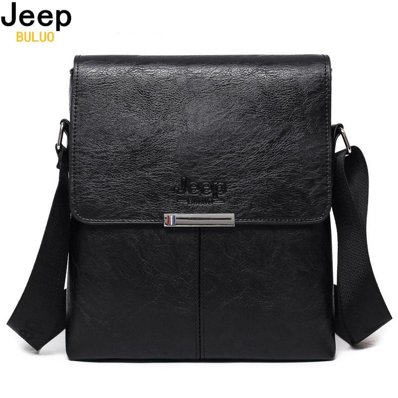 JEEP BULUO Men Bag 2017 Fashion Mens Shoulder Bags High Quality Leather Casual Messenger Bag Business