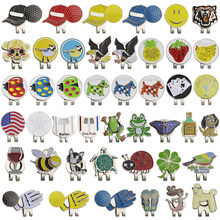 55 Kinds Different Design Golf Marker w Golf Hat Clip Clamp Golf Ball Mark(animals,wine cup,plants,shoes,flag) 1pcs(China)