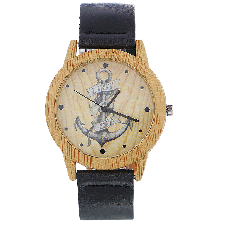 Factory Wholesale Anchor Wooden Wristwatch For Men's Fashion Watch Gifts With Cowhide Leather Watchband Women Casual Wood Watch