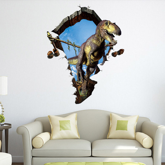 Fashion Creative Dinosaur 3D Vision Cracked Modern Vinyl Wall Stickers  Bedroom Home Decoration Living Room Cafe