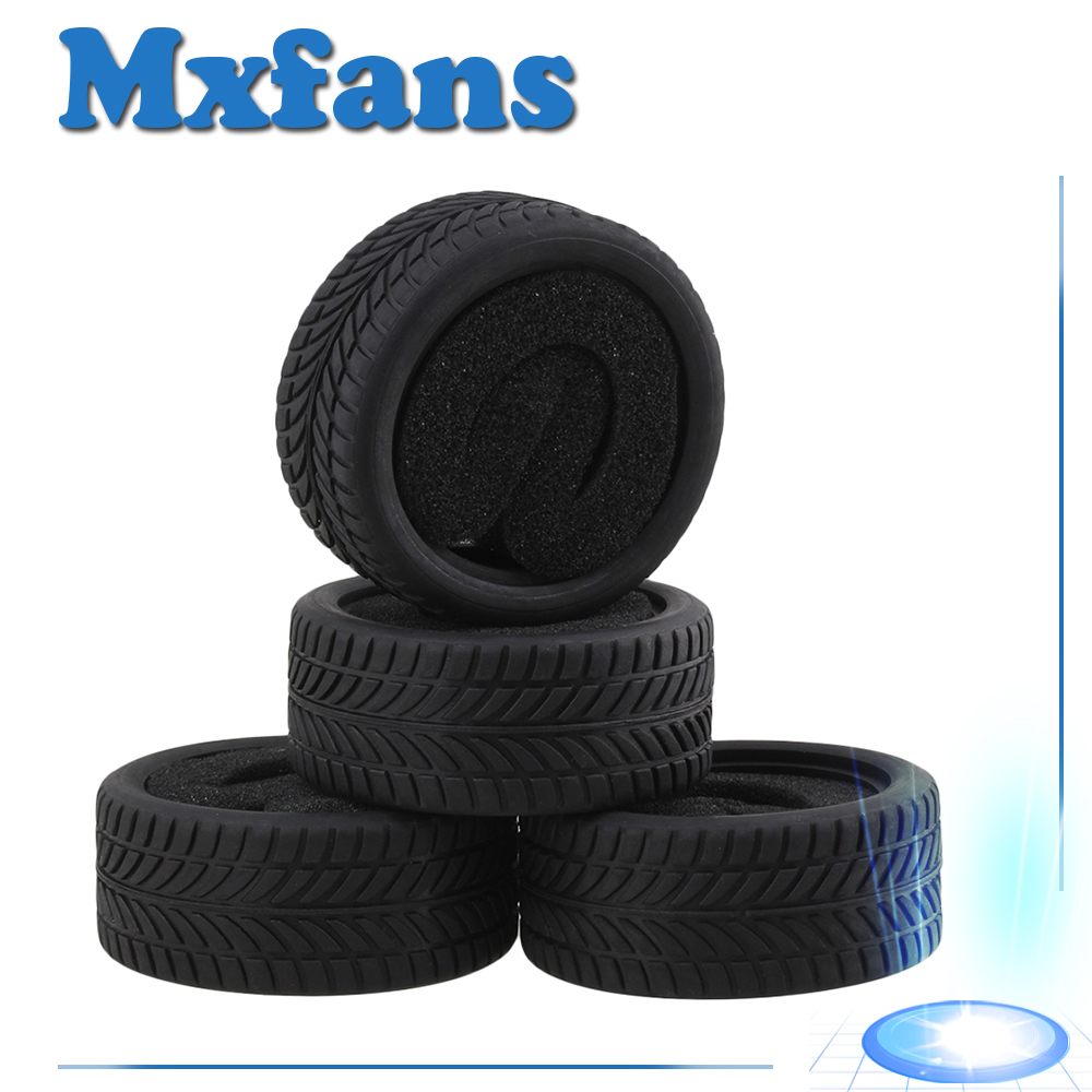 Mxfans 4pcs Black Rubber Tyre for RC 1:10 On Road Racing Car Model Car Spare Parts Tire 90mm rubber tyres set for 1 10 rc on road car black 2 pcs