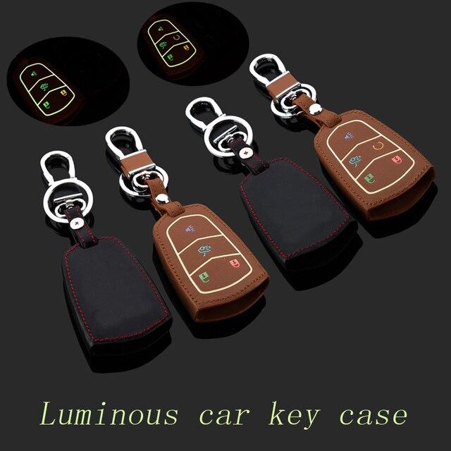 Натуральная Кожа автомобилей брелок крышка для Cadillac SRX XTS SLS CTS ATS Смарт брелок брелок держатель сумка Автоаксессуары
