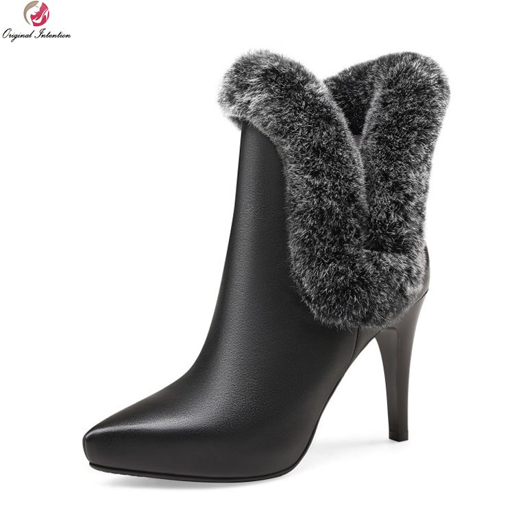 Original Intention Fashion Women Ankle Boots Cow Leather Pointed Toe Thin Heels Boots Nice Black White
