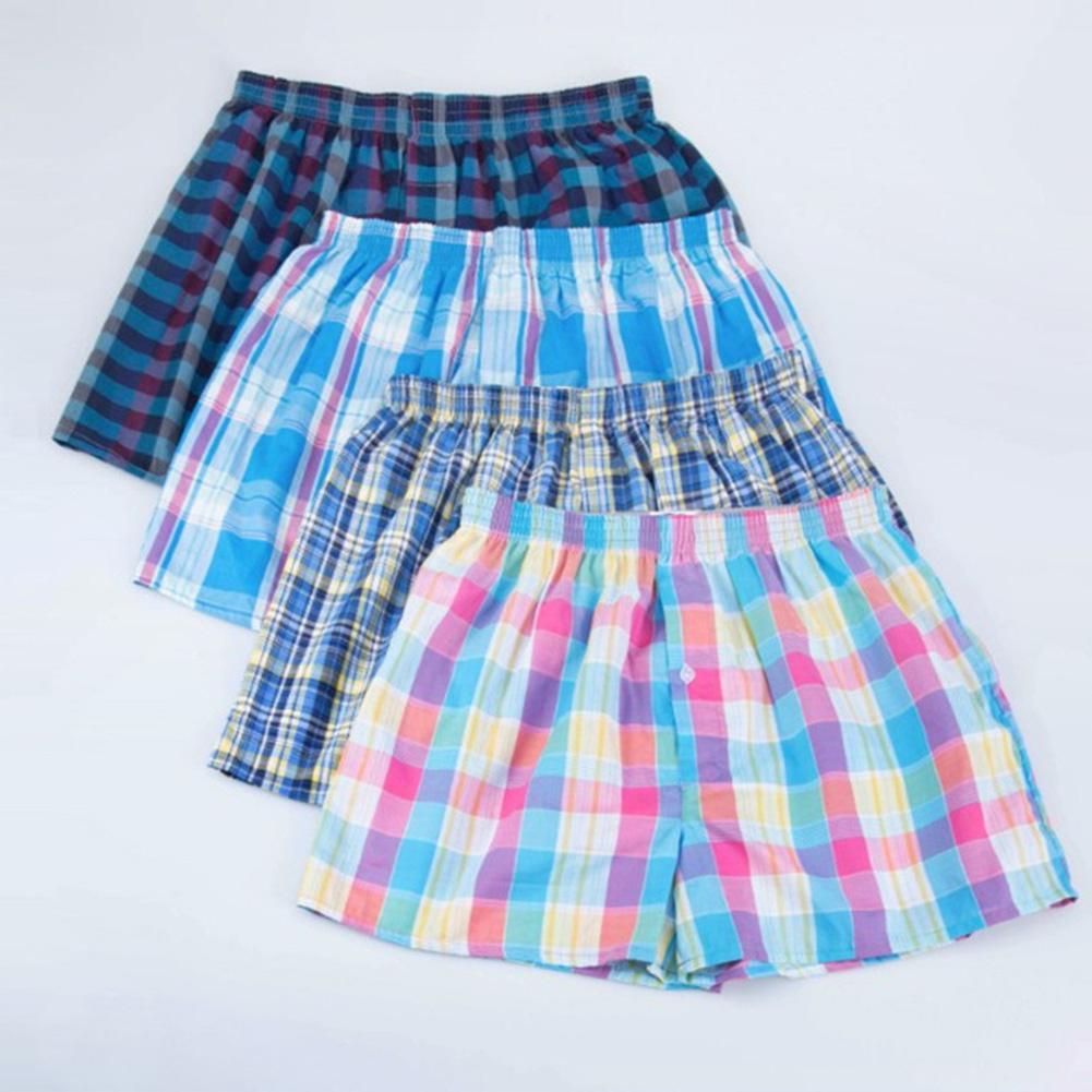 1Pcs/4Pcs Cotton Men Shorts Plaid Boxers Breathable Underpants Loose Summer Men's Shorts Large Size For Man