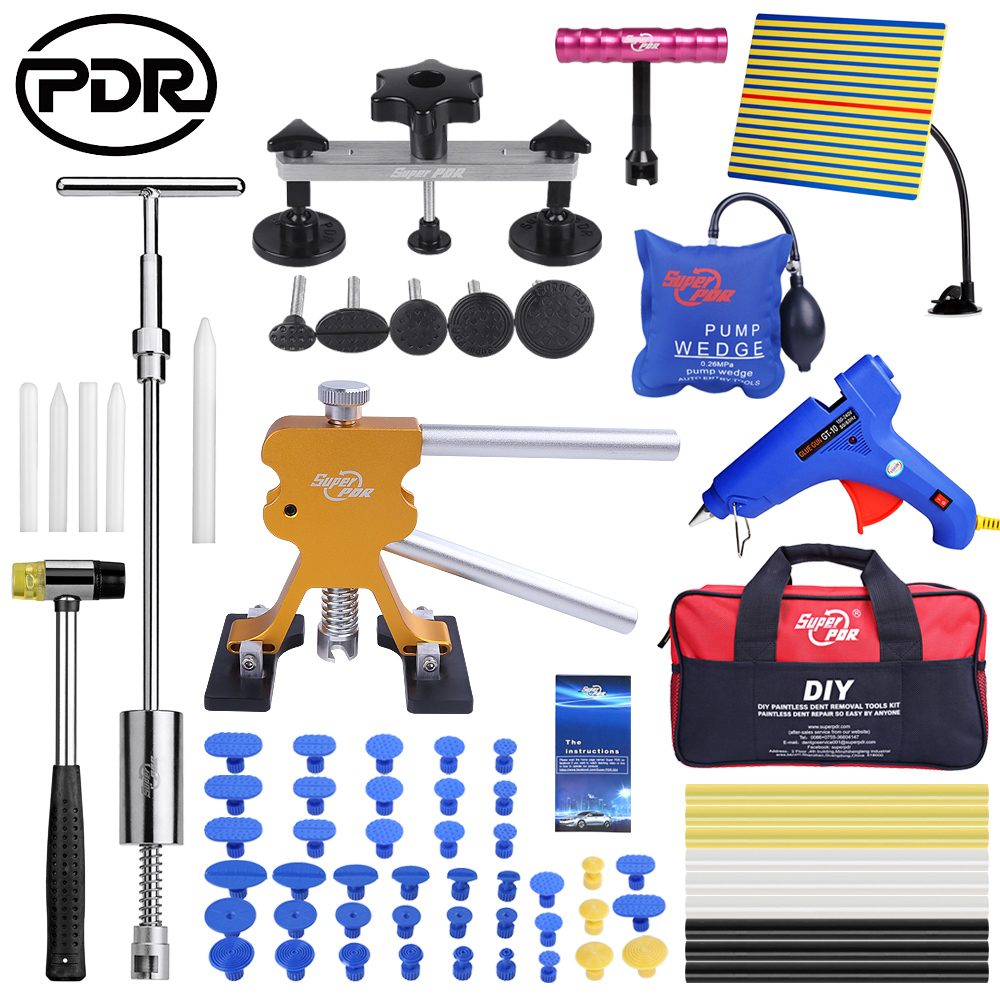 PDR Car Dents Repair Tools Kit Hail Removing Dents Tool Set Dent Puller Tool Bag Line Lamp Glue Sticker обратный молоток
