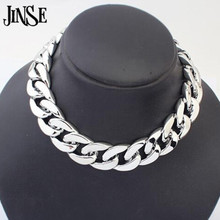 JINSE BLS010 Punk Style Cut CCB Link Chain Choker Chunky Shiny Chain Necklace All-Match Thick Choker Necklace For Women man