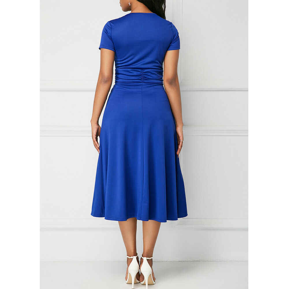 Elegante Vrouwen Jurk Mode Hoge Taille Plain Asymmetrische Midi Jurk Dames Casual Korte Mouw V-hals Zonnejurk Plus Size S-5XL