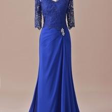 Русалка половина рукава кружева мать невесты платье Королевский синий для свадьбы жениха длинное вечернее платье SLD-M14