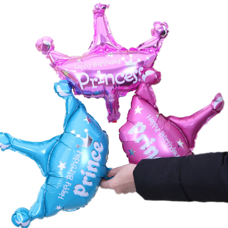 1PC 41*35CM Cute Pink Blue Princess Prince Crown Foil Balloon for Baby Shower Kids Birthday Party Decoration Baby 1st Layout