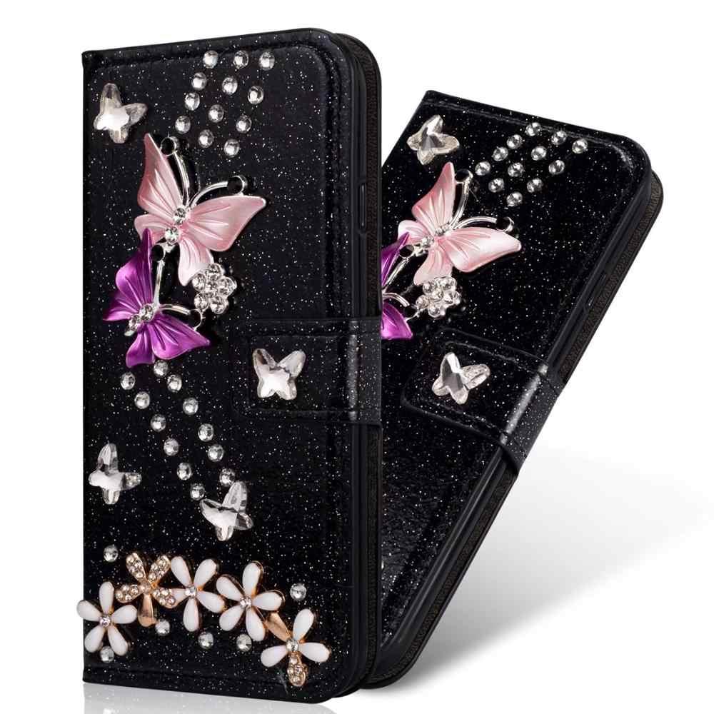 Кожаный флип-чехол-подставка для девочек, чехол для телефона samsung Galaxy S10 plus S10 5G A70 A50 A40, Блестящая бабочка со стразами