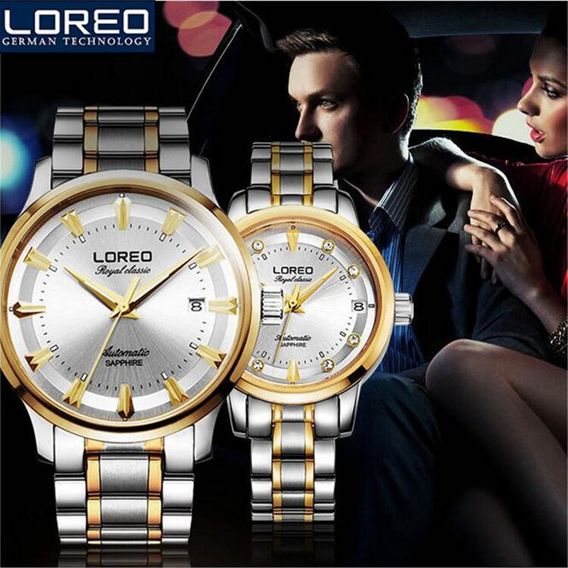 LOREO Lovers' Stainless Steel Watches Couple Luxury Fashion Business Watch Quartz Waterproof Women Watches Wedding Gift AB2124 ultrathin couple watches for men waterproof stainless steel watch male table women quartz watch female form valentines day gift
