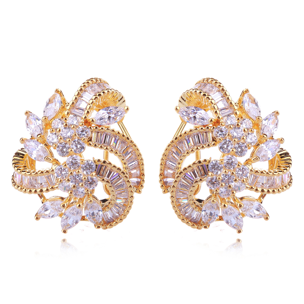 Latest Design Dressed Shape Gold Color Earrings Lead Free Cubic ...