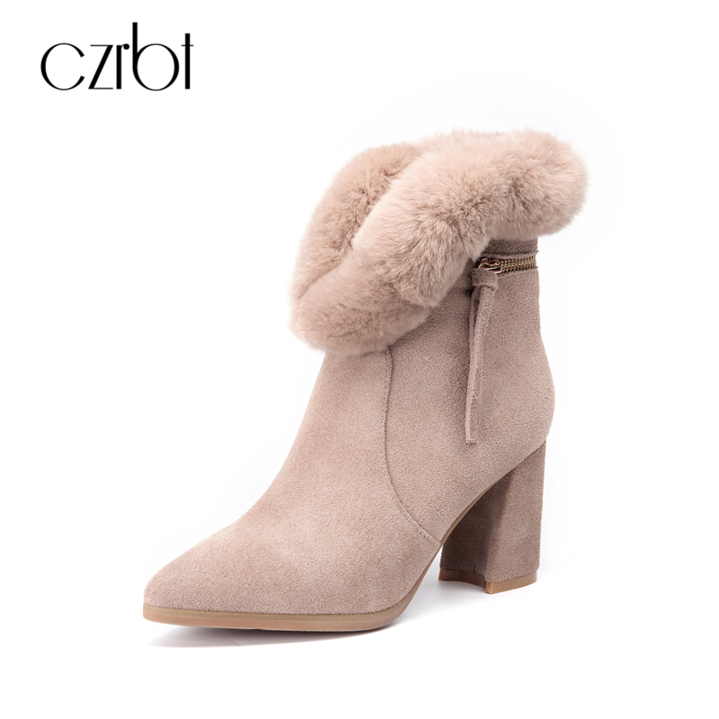 CZRBT Women Boots Autumn Winter Cow Suede Real Fur Ankle Boots Fashion Women Pointed Toe Square Heel Zipper Boots Apeicot Black czrbt genuine leather boots women fashion pointed toe thick heel high heel boots spring autumn cow leather women chelsea boots