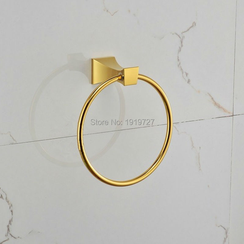 High Quality Bath Room Accessories Rings Of Gold Towel Holder 100% Guarantee Brass Bathroom Accessory Square Single Towel Ring ornamentation bathroom accessories bath hardware high quality full brass towel bar aliexpress delivery logistics guarantee
