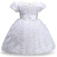 Produtos Recém-nascidos Primeira Festa de Aniversário do Vestido Da Menina vestido de Baptizado Rosa mais Branco Tule Tutu da Roupa Do Bebê Da Criança Roupas de Menina