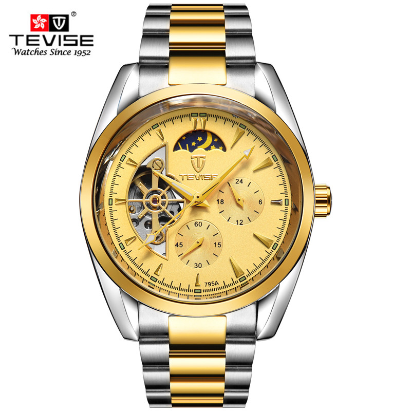 TEVISE Brand Men's Automatic Mechanical Watches Business Male tourbillon Watch Full Stell Wrist Watches Moon Phase Clock Relogio relogio masculino tevise luxury brand watch men tourbillon automatic mechanical watches moon phase skeleton wrist watch clock