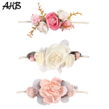 AHB Newborn Flower Headband For Girls Rhinestone Nylon Hair Bands Artificial flowers Photography Props Kids Accessories