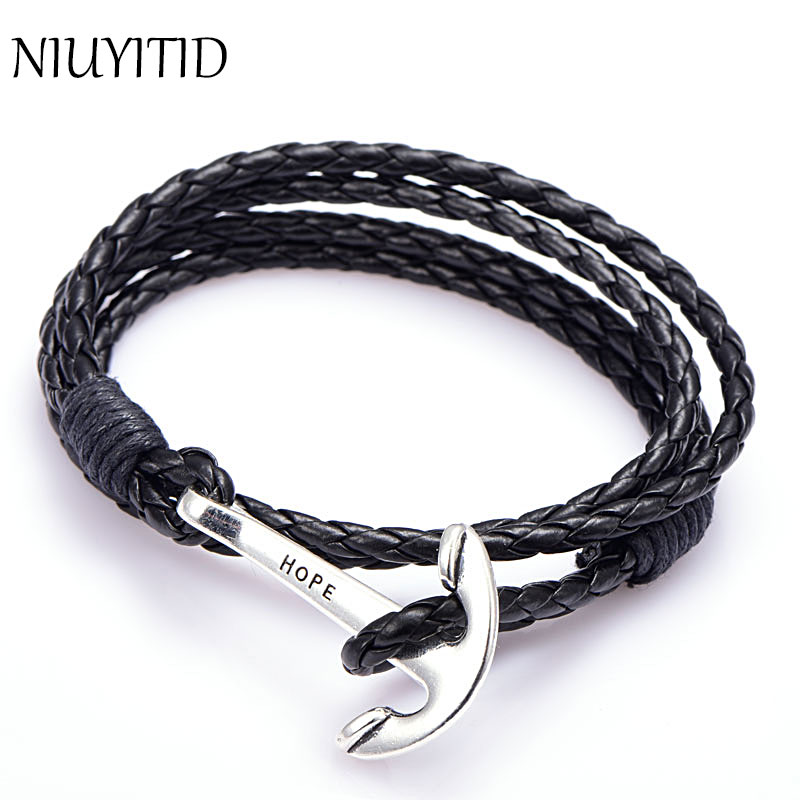 Niuyitid 40cm Pu Leather Men Bracelet Jewelry Man Anchor Wristband Charm Braclet For Male Accessories Hand Cuff In Bracelets From