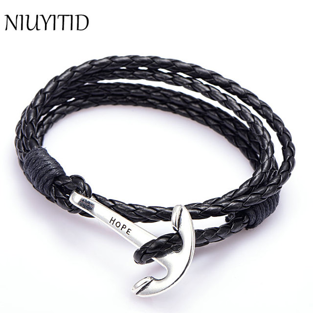 Niuyitid 40cm Pu Leather Men Bracelet Jewelry Man Anchor Wristband Charm Braclet For Male Accessories