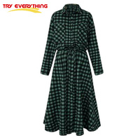 TryEverything Green Plaid Winter Dress Women Long Turn Down Collar Pleated Dress Oversize Long Sleeve Sashes