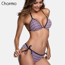 Charmo Women Sexy triangle Bikini Set Vintage Print Swimwear Side Bandage halter Swimsuit Bathing Suit Padded Push Up Beachwear mixed print triangle bikini set