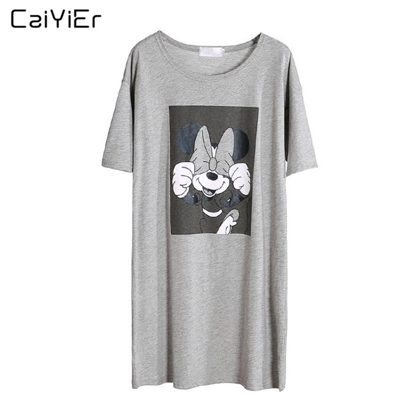 Caiyier Gray Mickey Nightgown Cotton O-Neck Sleepwear Summer 2019 Causal Loose Short Sleeve Nightdress Ladies Sexy Nightshirt