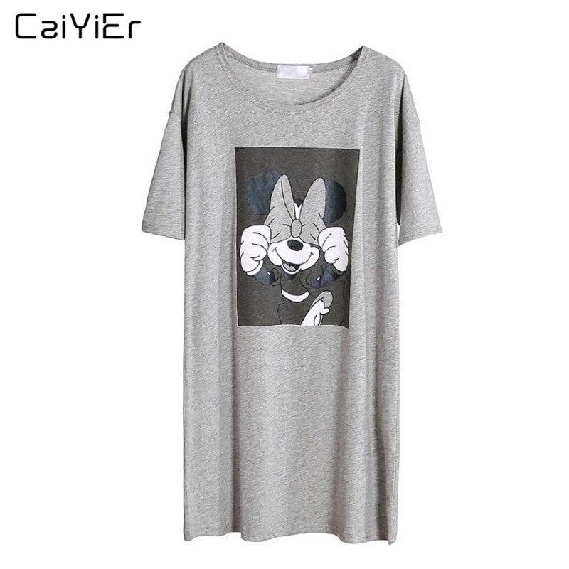 Caiyier Gray Mickey Nightgown Cotton O-Neck Sleepwear Summer 2019 Causal Loose Short Sleeve Nightdress Ladies Sexy Nightshirt