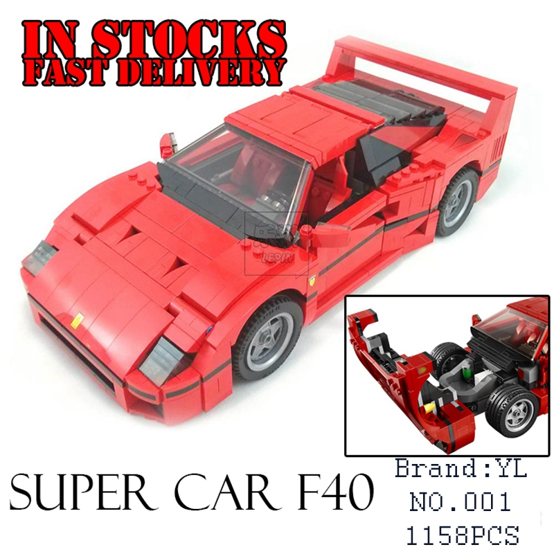 New Yile 001 1158pcs Technic F40 Sports Car-styling Building Blocks Bricks fun Toy For ChildrenGifts Compatible 10248Gifts
