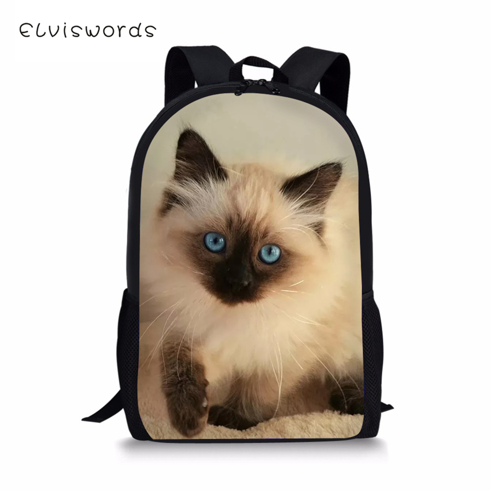 ELVISWORDS Kids Backpack Siamese Cat Pattern Toddler Schoolbags Cute Animal Children 39 s School Bags Fashion Women Travel Backpack in School Bags from Luggage amp Bags