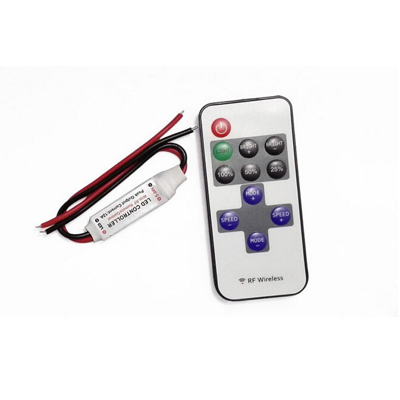 New Single Color Remote Control <font><b>Dimmer</b></font> DC <font><b>12V</b></font> 11keys Mini Wireless <font><b>RF</b></font> <font><b>LED</b></font> Controller for <font><b>led</b></font> Strip light SMD 5050 / 3528