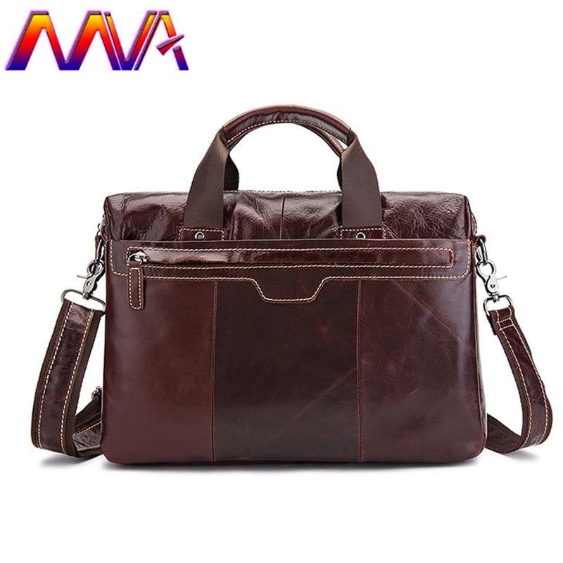 MVA promotion leather men briefcase with 100% genuine leather men laptop handbag for fashion women notebook shoulder bags