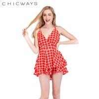 f4f940d67c57 Chicways Summer Plaid Crepe Romper Ruffle Skirt Strap Sleeveless Short Jumpsuits  Playsuits Deep V-neck
