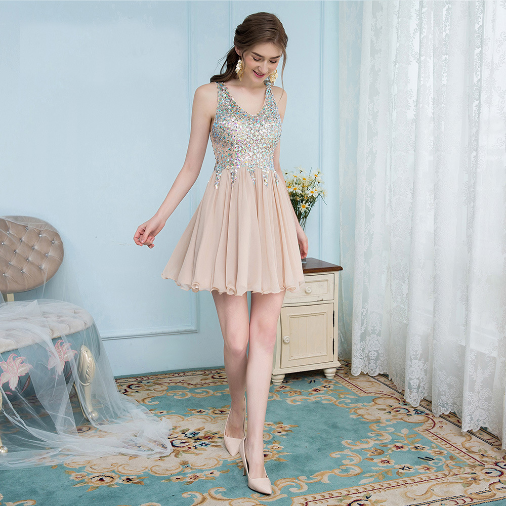 High Quality Bling Beads Girly   Cocktail     Dress   Pink Tulle Sleeves Above Knee Length Party   Cocktail     Dresses
